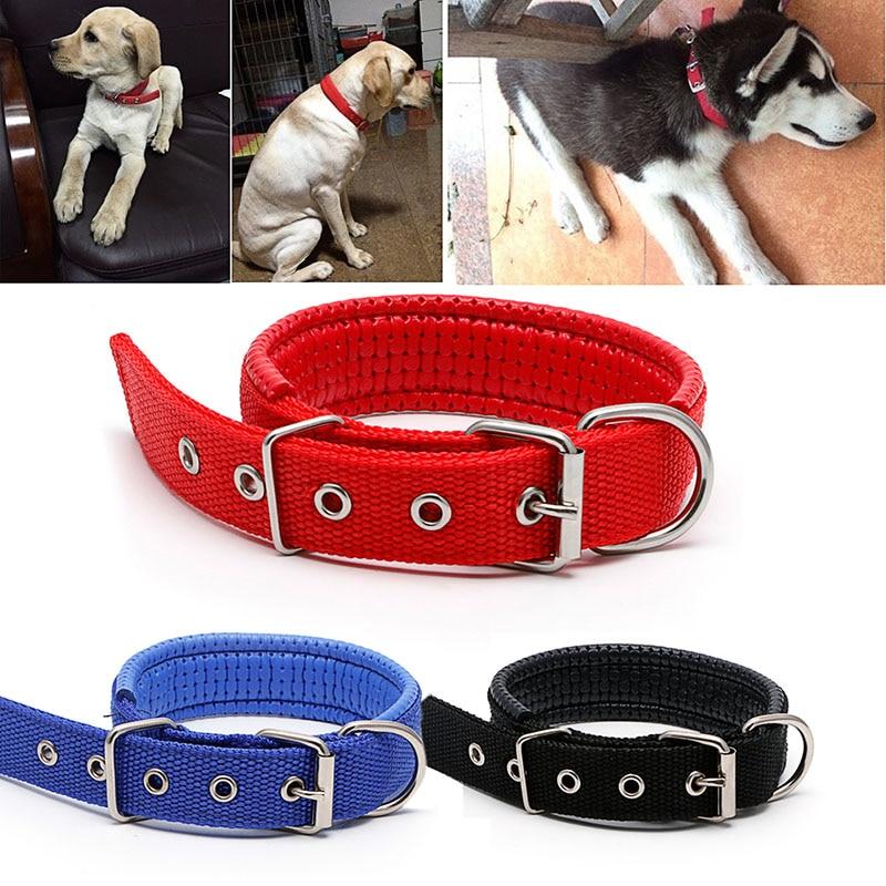 Pet Dog Nylon Collar Neck Strap Sponge Foam Doggie Adjustable Safety