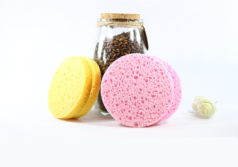 500pcs  8X1cm Natural High Quality Wood Pulp Cotton Thickening Sponge Face Remover Cleanser Cleansing Face Soft Face Sponge