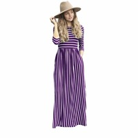 High Quality Women Striped Long Dress Lady Casual Pockets Round Neck Three Quarter Party Daily Dress