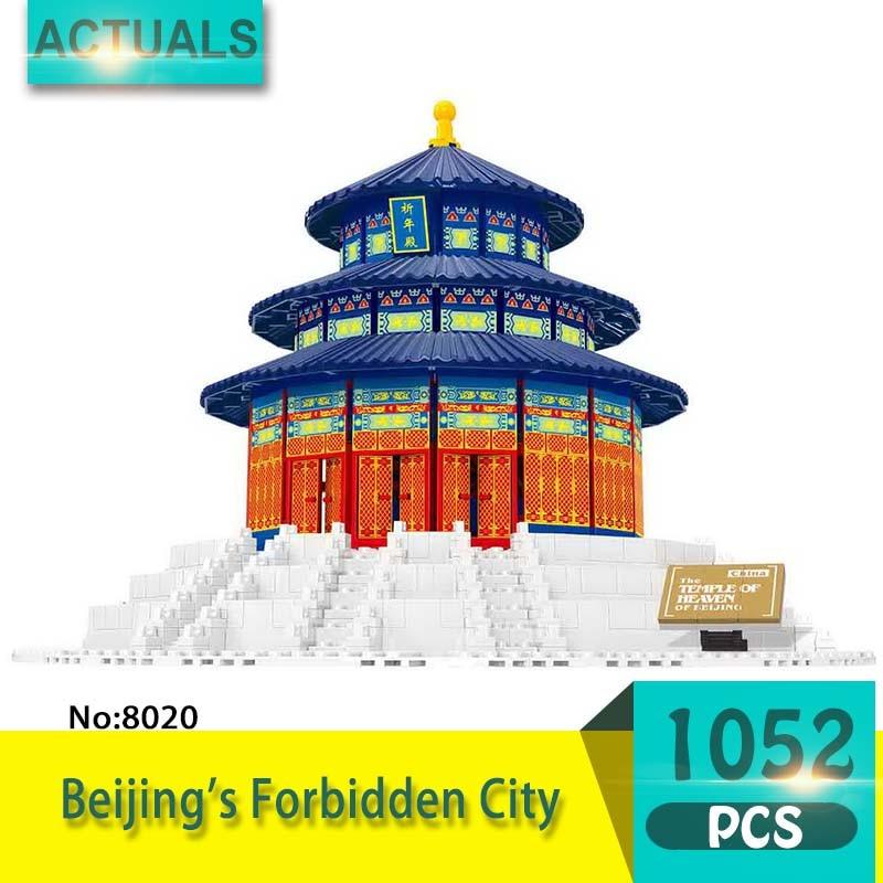 8020 1052Pcs Street View series Beijing's Forbidden City Model Building Blocks Set  Bricks Toys For Children wange Gift 0367 sluban 678pcs city series international airport model building blocks enlighten figure toys for children compatible legoe