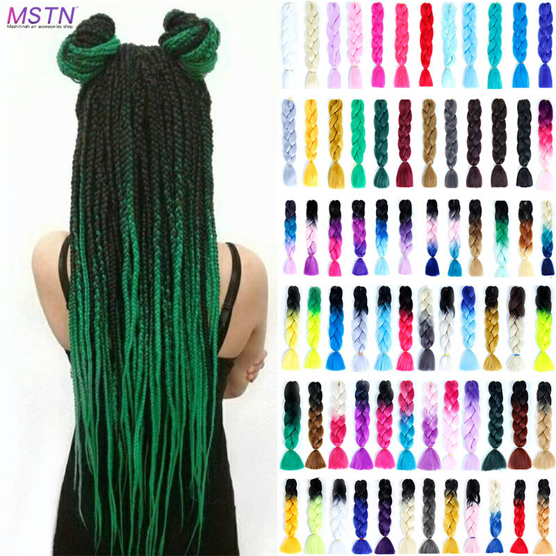 "MSTN  Women's 24"" Hook Braided Dice 100g / Pc Ombre Braiding Hair Super Large Dice Synthetic Woven Hair Extension Headwear"