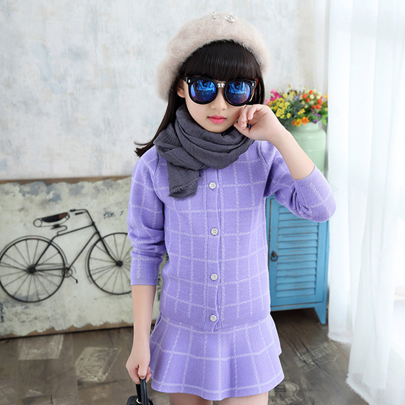 ФОТО 2016 new arrived winter sweater girls wear Korean single knitting cardigan dress suits two pieces cashmere sweater