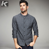 KUEGOU 2017 Spring Mens Casual Shirts 100% Cotton Gray Color Brand Clothing Man's Wear Long Sleeve Slim Clothes Male Tops 5869