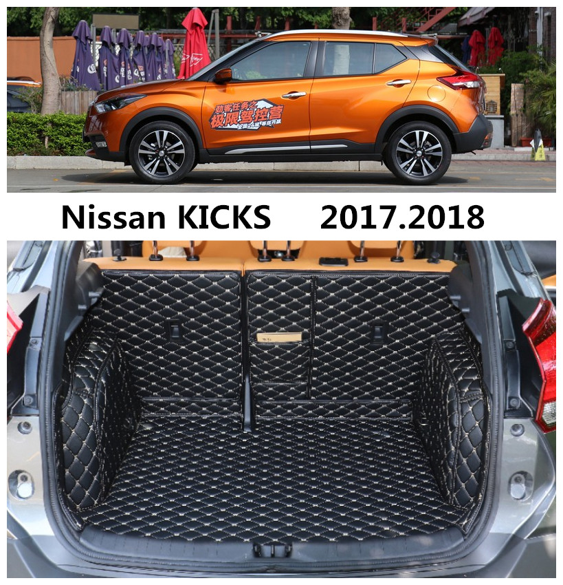 For Nissan KICKS 2017.2018 Full Rear Trunk Tray Liner Cargo Mat Floor Protector foot pad mats High Quality Embroidery Leather custom fit car trunk mats for nissan x trail fuga cefiro patrol y60 y61 p61 2008 2017 boot liner rear trunk cargo tray mats