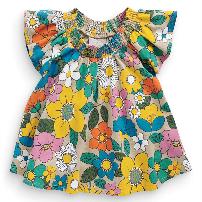 Baby girls butterfly sleeve t shirt floral print cute for Toddler t shirt printing