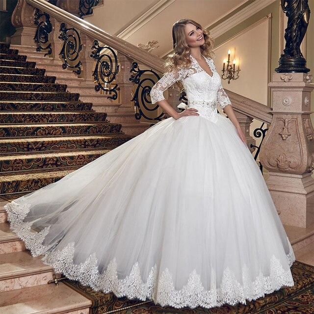 Luxus Spitze Korsett Weiß Brautkleider Mit Ärmeln V Zurück Ballkleid ...