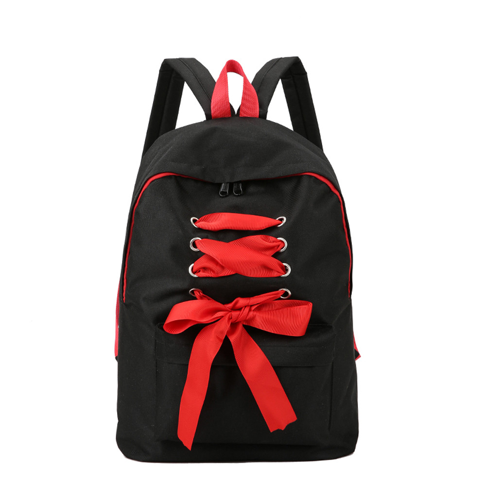 Canvas School Bags Backpack For Teenage Girls Canvas Backpack Drawstring Bowknot Backpack Mochila Feminina #23