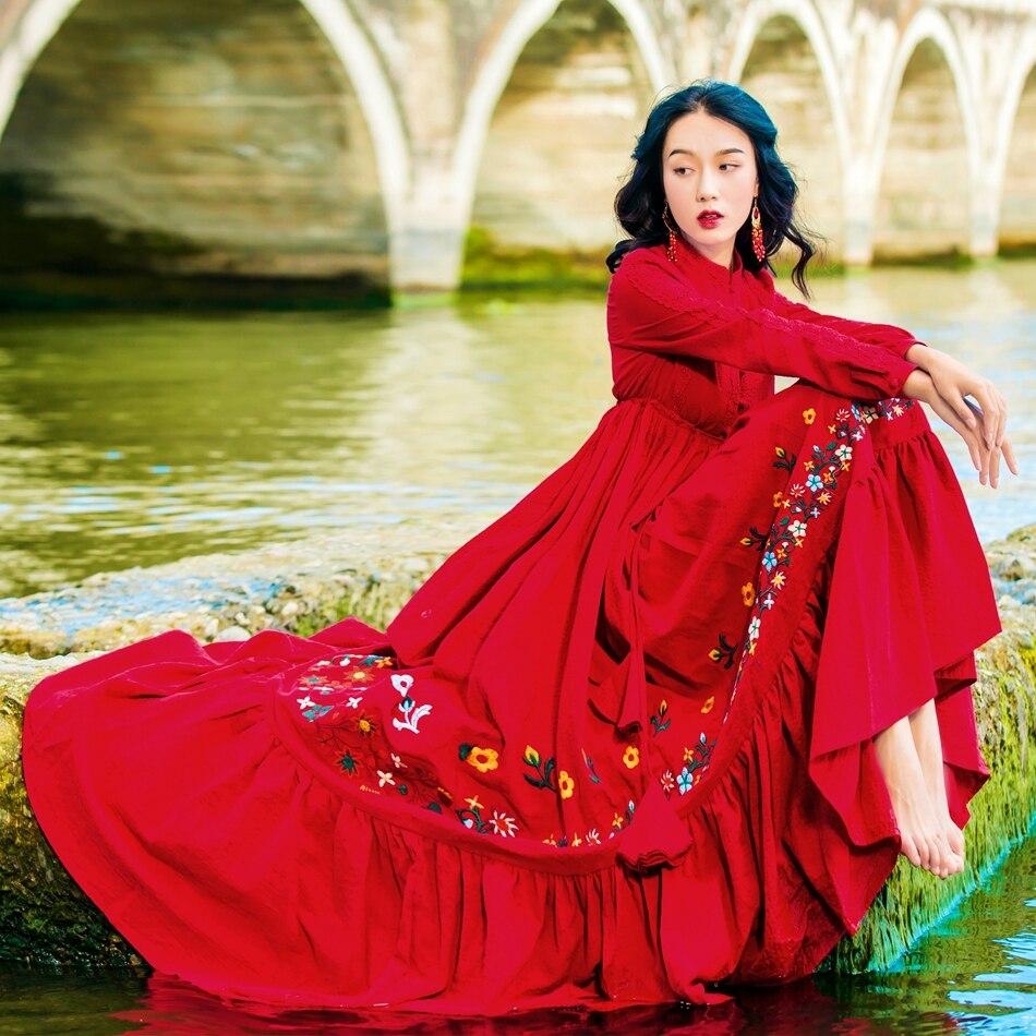 Khale Yose Red Floral Embroidery Long Sleeve Vintage Maxi Dress Women Boho Chic Tie Waist Cotton