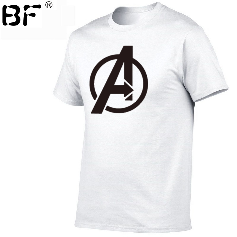 Marvel Tshirt Logo Superhero T-Shirt Men Pure Cotton Brands Tees Men's Fashion Hip Hop Movie T Shirt Avengers Patterns