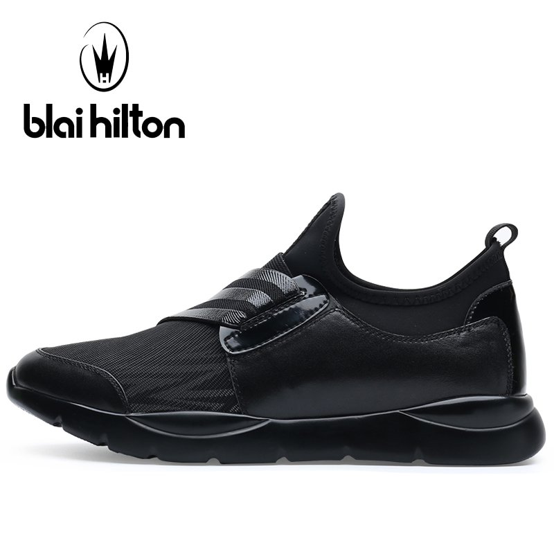 Blaibilton Breathable Running Shoes For Men Genuine Leather Lycra Sport Shoes Man Brand Massage Summer Men's Sneakers Run Shoes summer style somix ultralight damping running shoes for men free run sneakers 2017 slip on breathable blade soles sport shoes