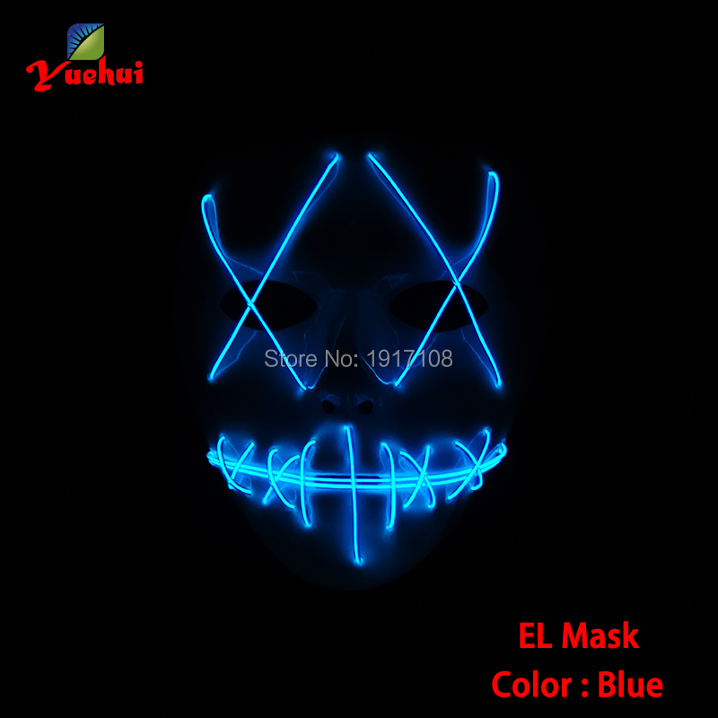BLue Color Cosplay Party Masks LED Neon light Funny Scary Ghost Joker Full Face el Mask Costume For Halloween Decoration