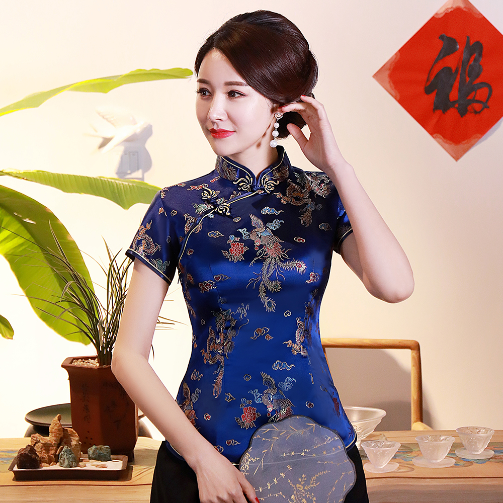 Asian Women Novelty Dragon Shirt Chinese Style Satin Summer Blouse Traditional Button Clothing Vintage Animal  3XL 4XL Tops