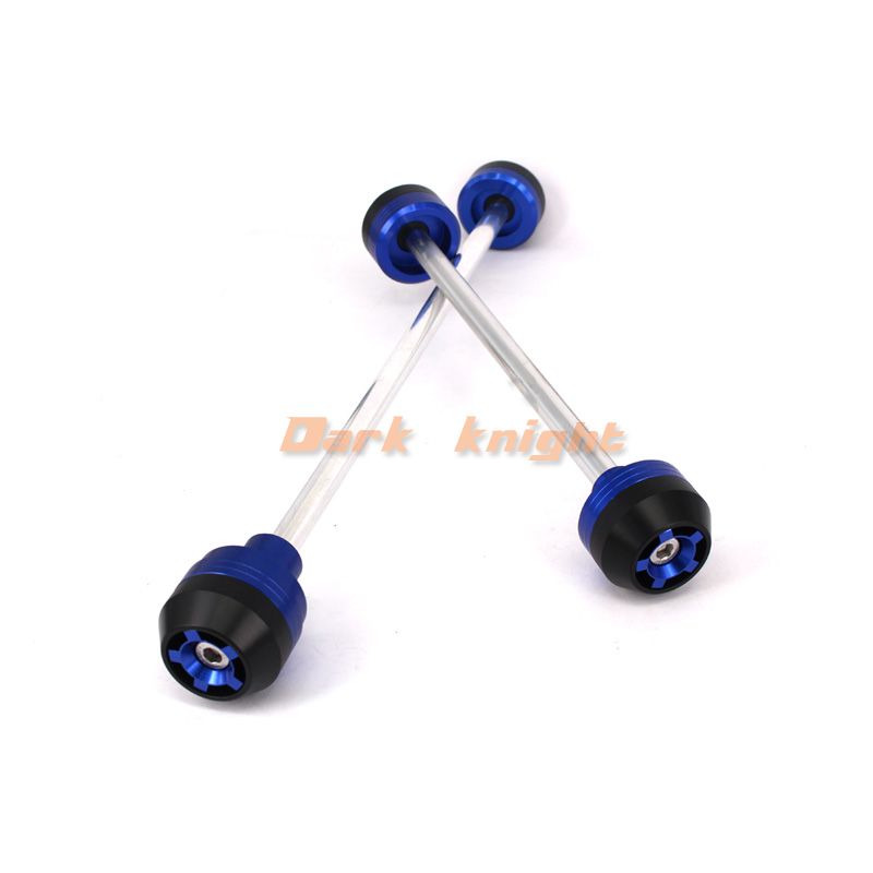 For BMW S1000RR 2010 2014 HP4 Blue Motorcycle CNC Aluminum Front Rear Axle Fork Crash Sliders