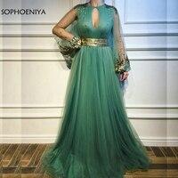 Новое поступление длинный рукав, мусульманский вечернее платье 2019 зеленый тюлевые вечерние платья кружевное официальное платье с аппликац