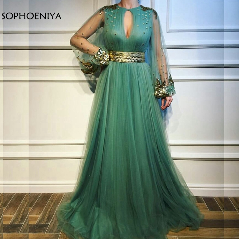 New Arrival Long sleeve Muslim   evening     dress   2019 Green Tulle   Evening   gowns Lace Appliques Formal   dress   Party robe de soiree