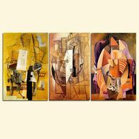 3 Piece Cubism City Street View Wall Painting Abstract FiguresCanvas Art Vintage Home Decor Wall Pictures