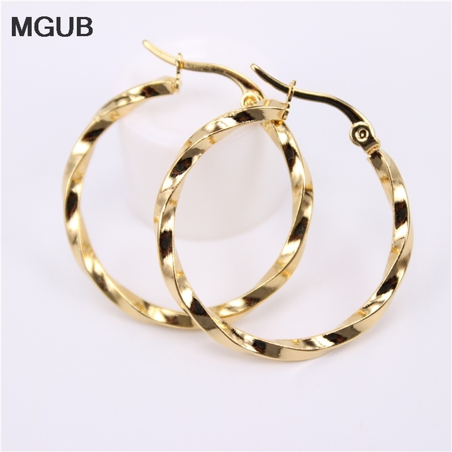 Mgub Four Sizes Gold Color Earrings Round Circle Hoop Earring For Women Stainless Steel Jewelry