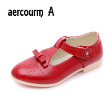 T2016 летние новых детская обувь мода девушки принцесса детская обувь кожаные ботинки для девочек белый красный черный розовый 26code-36code туфли для мальчика в школу туфли мокасины девочка