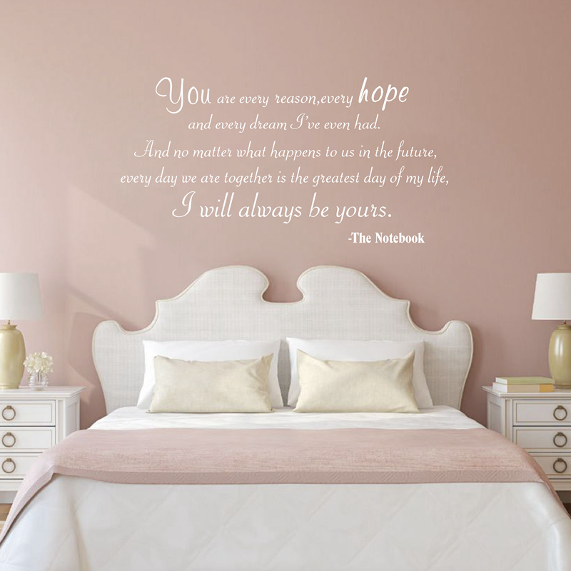 I LOVE YOU THE NOTEBOOK QUOTE WALL DECAL sticker ROMANTIC ALWAYS BE YOURS
