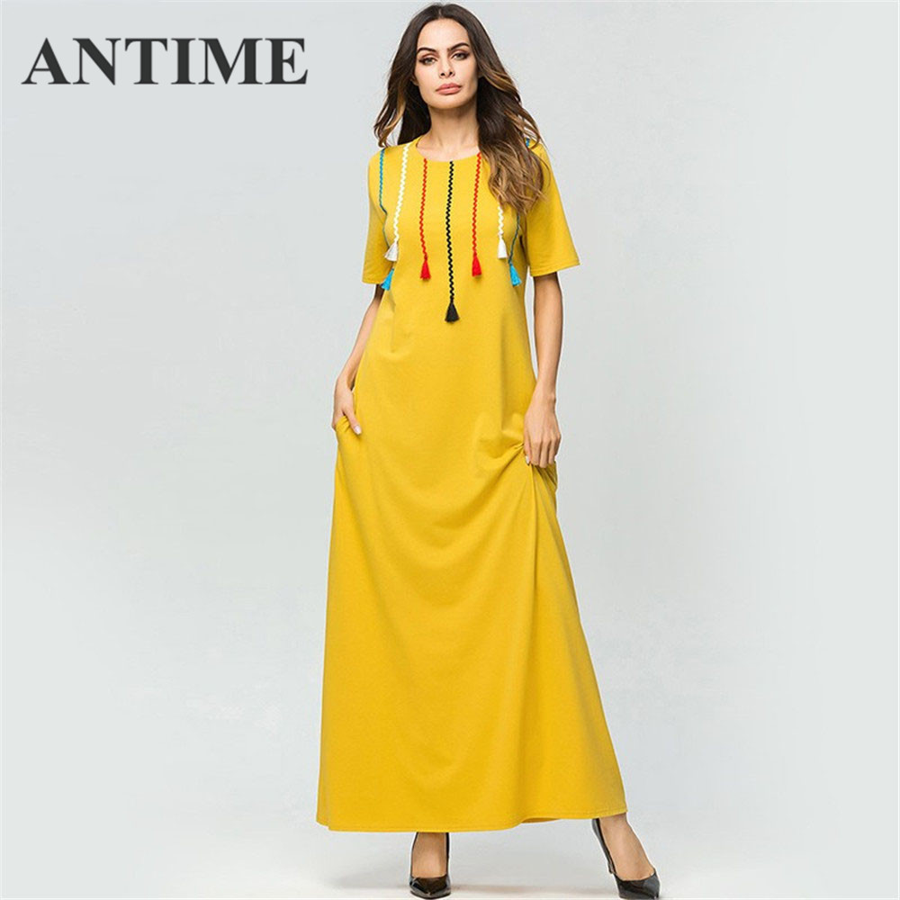 ANTIME Autumn Female Dress Winter O-Neck Casual 4XL Size Women Pockets Short Sleeves A-Line New Maxi Dresses Yellow Solid Robe
