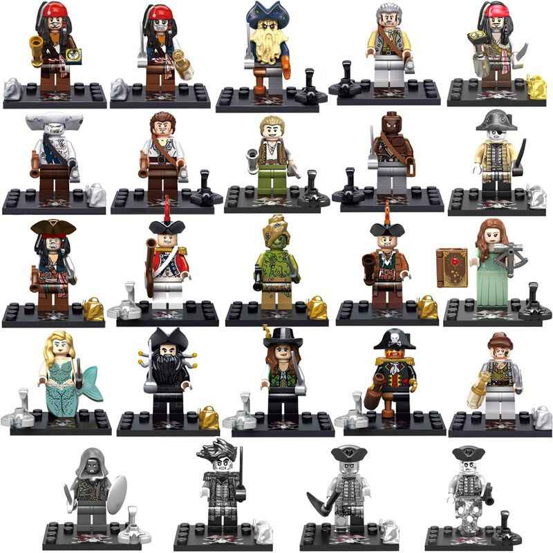 24pc Pirate of the Caribbean Figure Jack Sparrow Mermaid Gibbs Cutler Beckett Blackbeard Building Block Toy compatible with lego