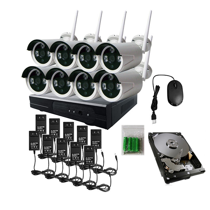 JSA 8CH CCTV System Wireless 960P NVR 8PCS 1.3MP IR Outdoor P2P Wifi IP CCTV Security Camera System Surveillance Kit 2TB HDD