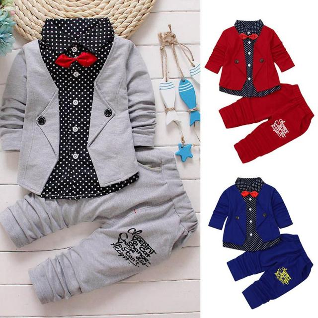 a6b6ab2cc5a12 Children Set Fashion Kid Baby Boy Gentry Clothes Set Formal Party  Christening Wedding Tuxedo Bow Suit F11-in Clothing Sets from Mother & Kids  on ...