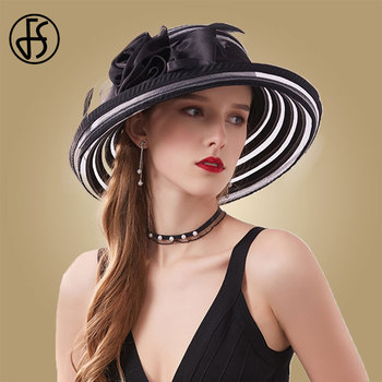 FS Black Wide Brim Fedoras Hats Church Caps Summer Women Hat 2020 Big Flower White Elegant Sun Foldable
