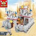 Medieval león castillo de transporte bloques de construcción aclare 686 unids ladrillos modelo juguetes para los niños P220