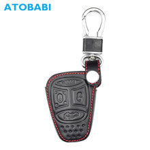 ATOBABI Hàng Đầu Lớp Da Chính Hãng Trường Hợp Chìa Khóa Xe Từ Xa Keychain Shell Bìa Chủ đối với Jeep Commander Grand Cherokee Chrysler 300(China)