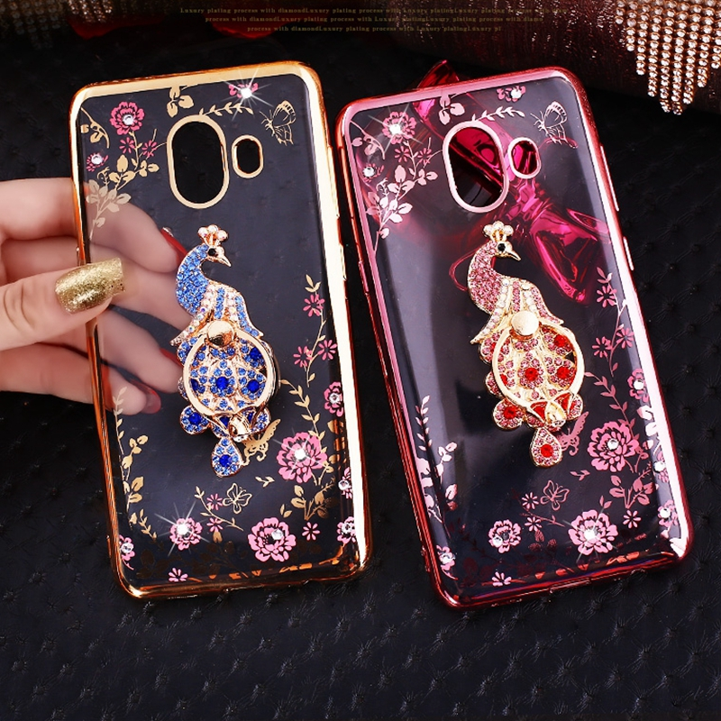 Glitter Case For Samsung Galaxy J3 J5 J7 2017 2016 A6 Plus A7 A8 A9 J2 Pro 2018 J4 J6 Prime J8 Luxury Soft TPU Flower Ring Cover image