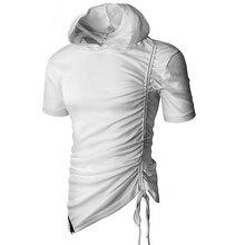 M-3XL nuevos hombres Hipster Hip Hop manga corta cremallera lateral con  capucha camisetas sólido Swag extendido camisetas moda u. a0a37167007