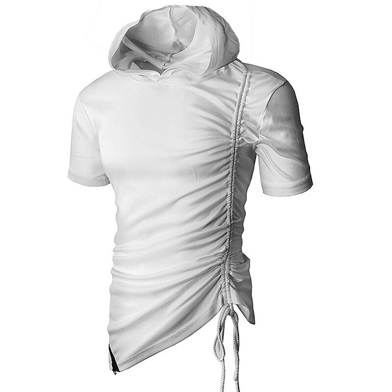 EWINGWORLD Men Hooded T Shirts Hole Hip Hop Swag Blouse Longline Hem Long//Short Sleeves