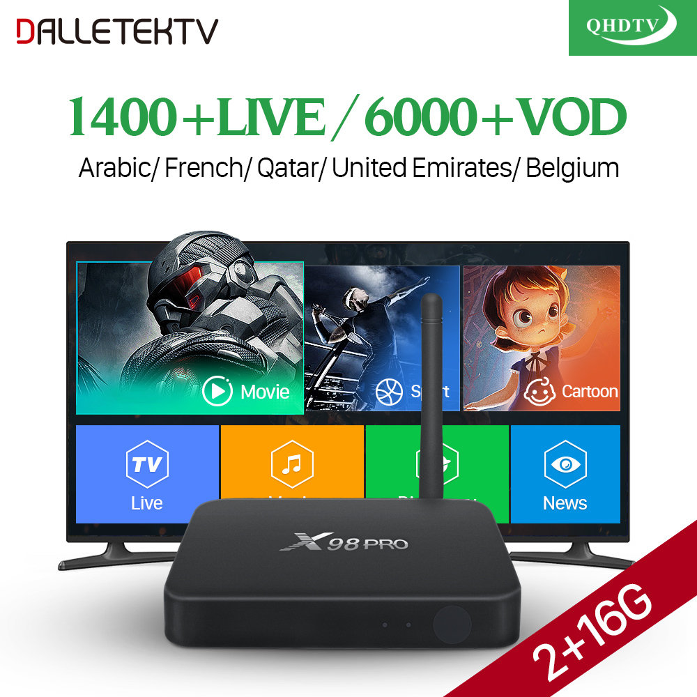 Decoder IPTV France Arabic Nederland X98 Pro 2G RAM+16G ROM Support BT Dual-Band Wi-Fi QHDTV Subscription Box IPTV Code 1 Year цена