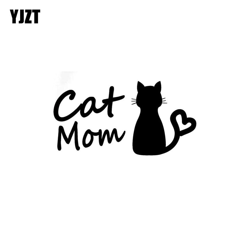 YJZT 13CM*6.7CM Cat Mom Car Sticker Funny Vinyl Decal Decor Black Silver C10-02431
