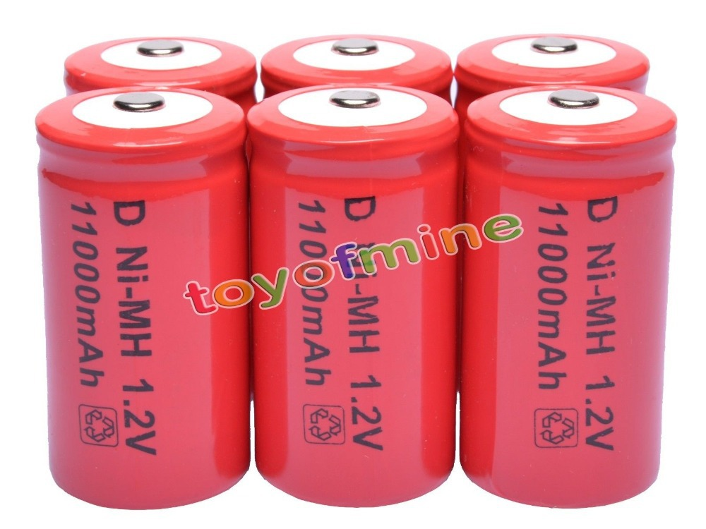 2/3/4/5/6 Pcs D 1.2V 11000mAh Ni-MH rechargeable battery Red все цены