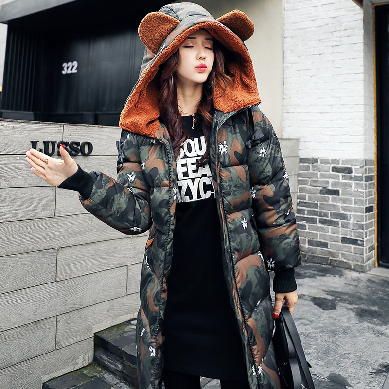 2017 Korean winter new large size women slim slim down cotton in the long section of female cotton printing sky blue cloud removable hat in the long section of cotton clothing 2017 winter new woman