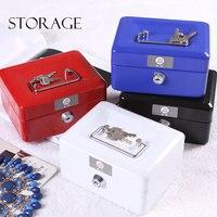 Portable Metel Lock key Iron Box Handbag Large Size High Quality Storage Box Money/Office Supplies/Debris Storage Iron Box