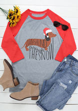 Merry Christmas T-shirt DACHSHUND THROUGH THE SNOW Tshirt Letter Print Casual Women Top Tee O-neck Female Femme T Shirt Hot Sale(China)