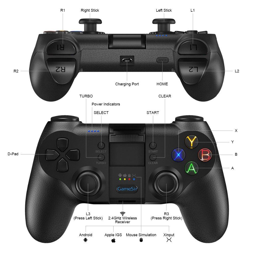 Contrôleur Mobile GameSir T1s Bluetooth 4.0 2.4 GHz contrôleur de jeu filaire USB sans fil manette de jeu jeu à distance - 3