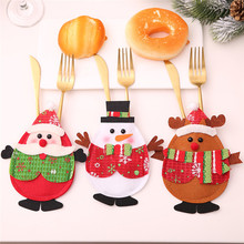 2019 New Party Celebration Christmas Cutlery Santa Claus Tableware Holder Fork Spoon Knife Bag Cover