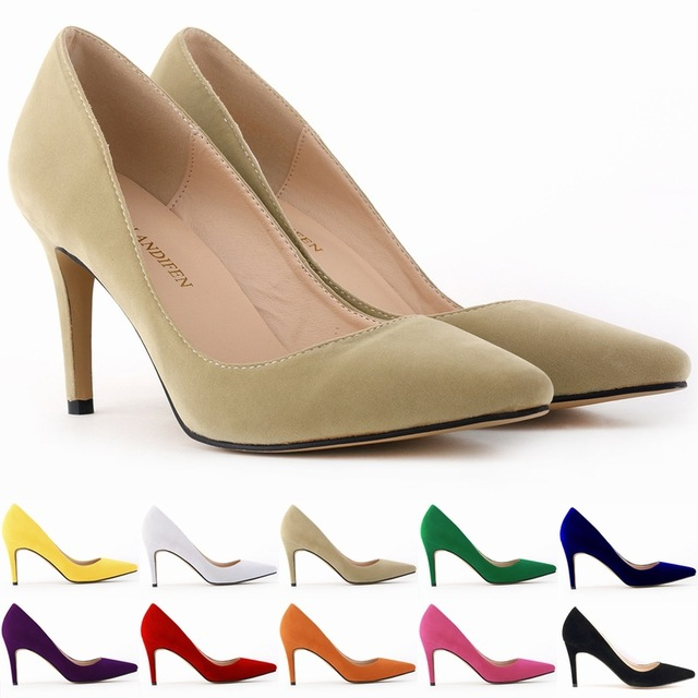 34-42 Woman Shoes Faux Suede 8cm Low Heels Women Pumps Stiletto Women's Work shoe Pointed Toe Wedding Shoes