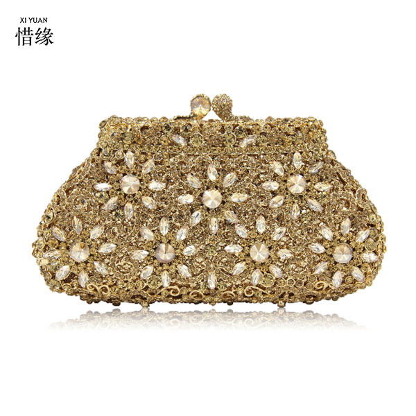 XIYUAN BRAND party wedding prom evening clutch bags luxury diamond clutch evening bags studded crystal wedding Bride party purse xiyuan brand gold party purse bags women luxury silver crystal evening bags female pochette diamond ladies wedding clutch bags