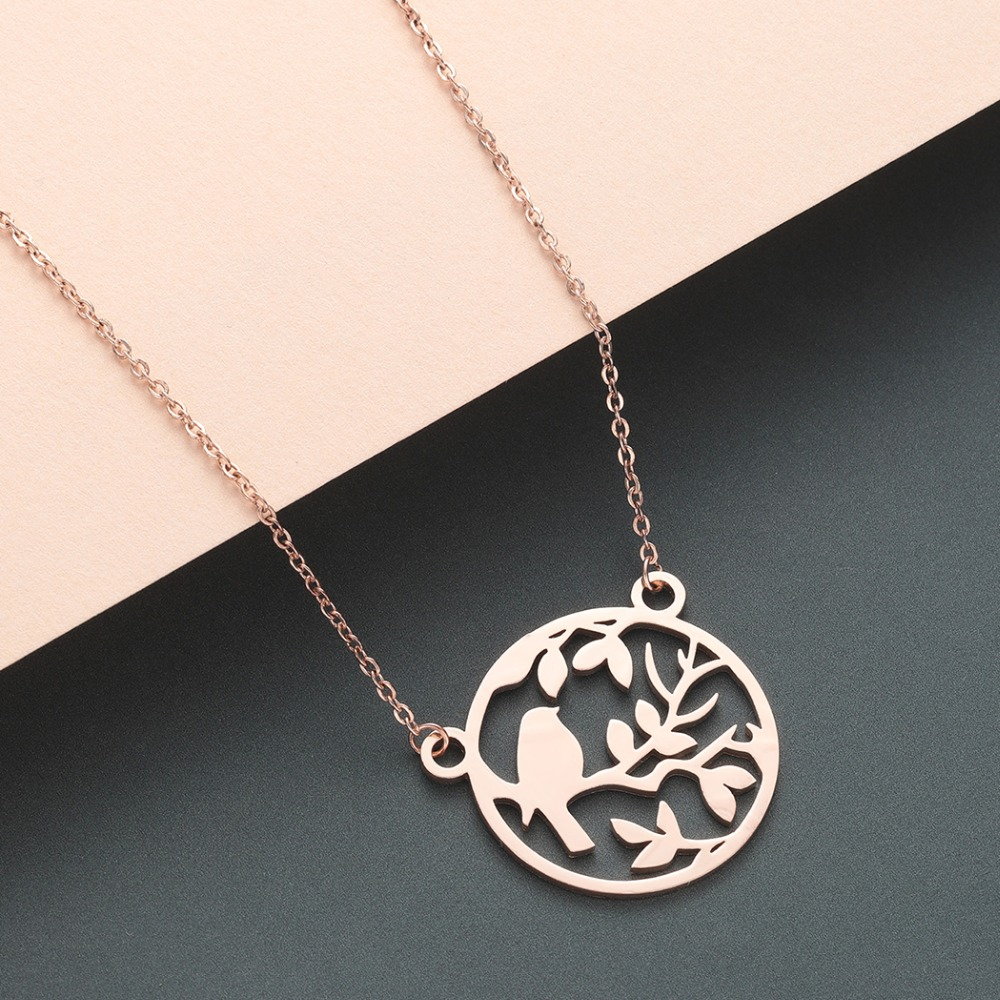 Chereda Cute Bird Tiny Chain Necklace Silver Round Hollow Mothers Pendant Wedding Party Gift Jewelry in Pendant Necklaces from Jewelry Accessories