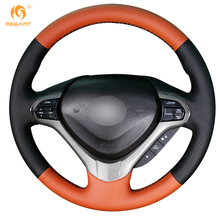 MEWANT Black Orange Leather Car Steering Wheel Cover for Honda Spirior OId Accord