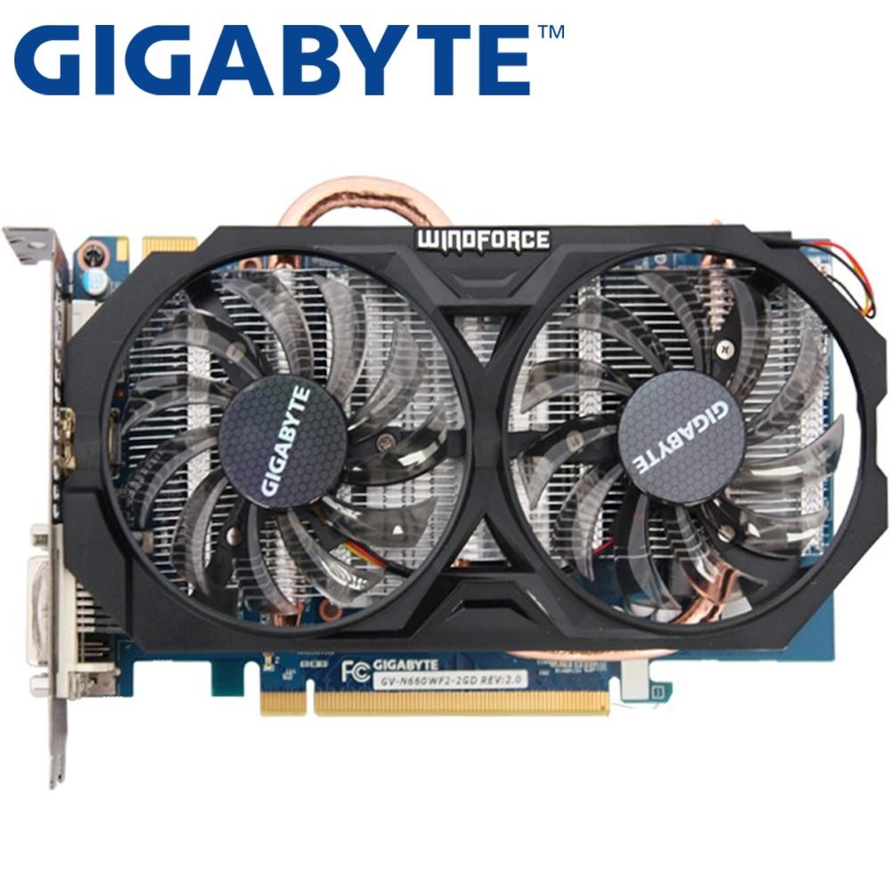 Gigabyte Графика карты оригинальный GTX 660 2 ГБ 192bit GDDR5 видео карты для NVIDIA GeForce GTX660 HDMI DVI используются VGA карты на продажу