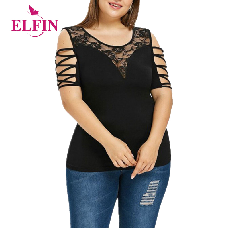Trustful Kenancy Women Plus Size Cold Shoulder Blouse Lattice Lace Sleeve Hollow Out O-neck Patchwork Sexy Shirt Casual Autumn Top Blusas Women's Clothing