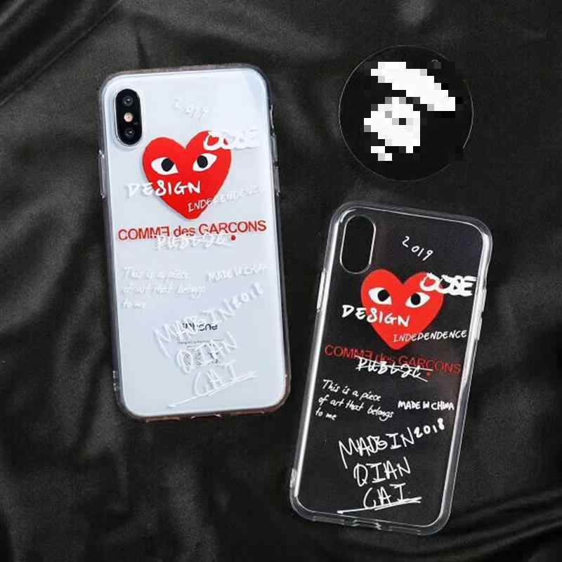 best authentic online shop best cheap CDG Play Comme des Garcons Phone cover case for iphone Xs Max Xr X 10 7 8 6  6s plus Clear Transparent soft silicone coque fundas