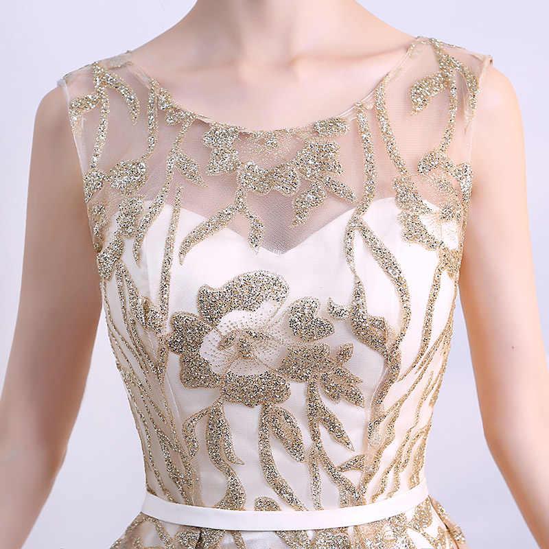 Золотое роскошное блестящее элегантное вечернее платье 2018 сексуальное длинное вечернее платье с высоким низким подъемом для платья для выпускного вечера