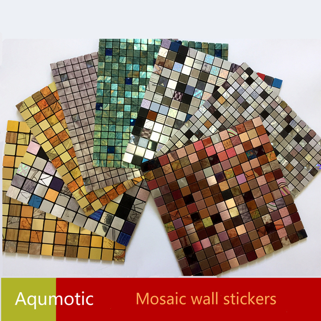 aqumotic mosaic 3d stickers wall decor diy wallpaper glue home